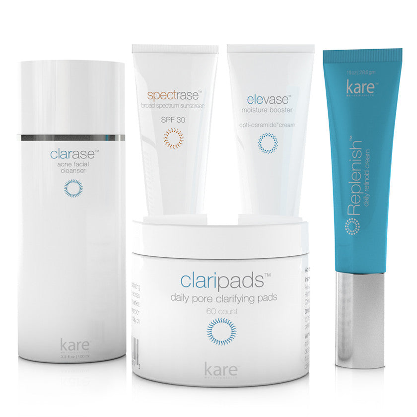 Kare's 5-step Clarifying Kit contains a powerful combination of products that target acne and help clarify your skin, making your skin clarifying routine a breeze each day.