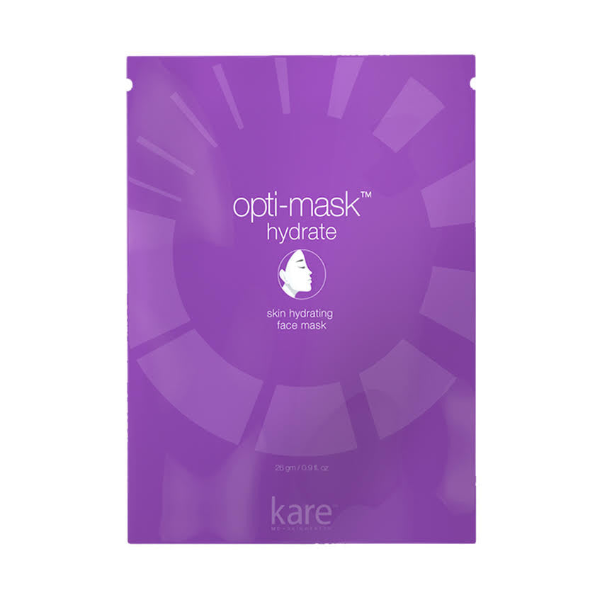 Opti-mask face sheet mask Hydrate is excellent for skin moisturization and hydration. Optimask by Kare MD Skin will help with fine wrinkles.