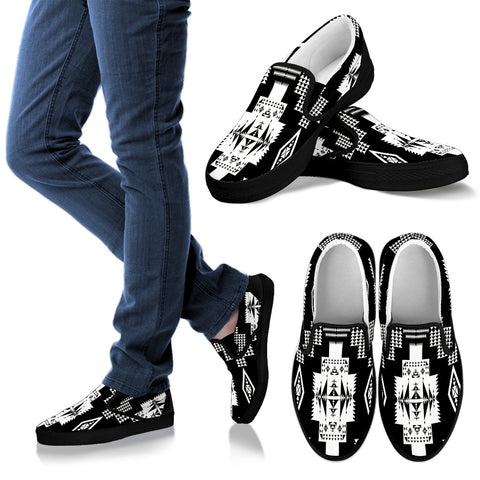 Seven Tribes Black with White Men's Slip Ons