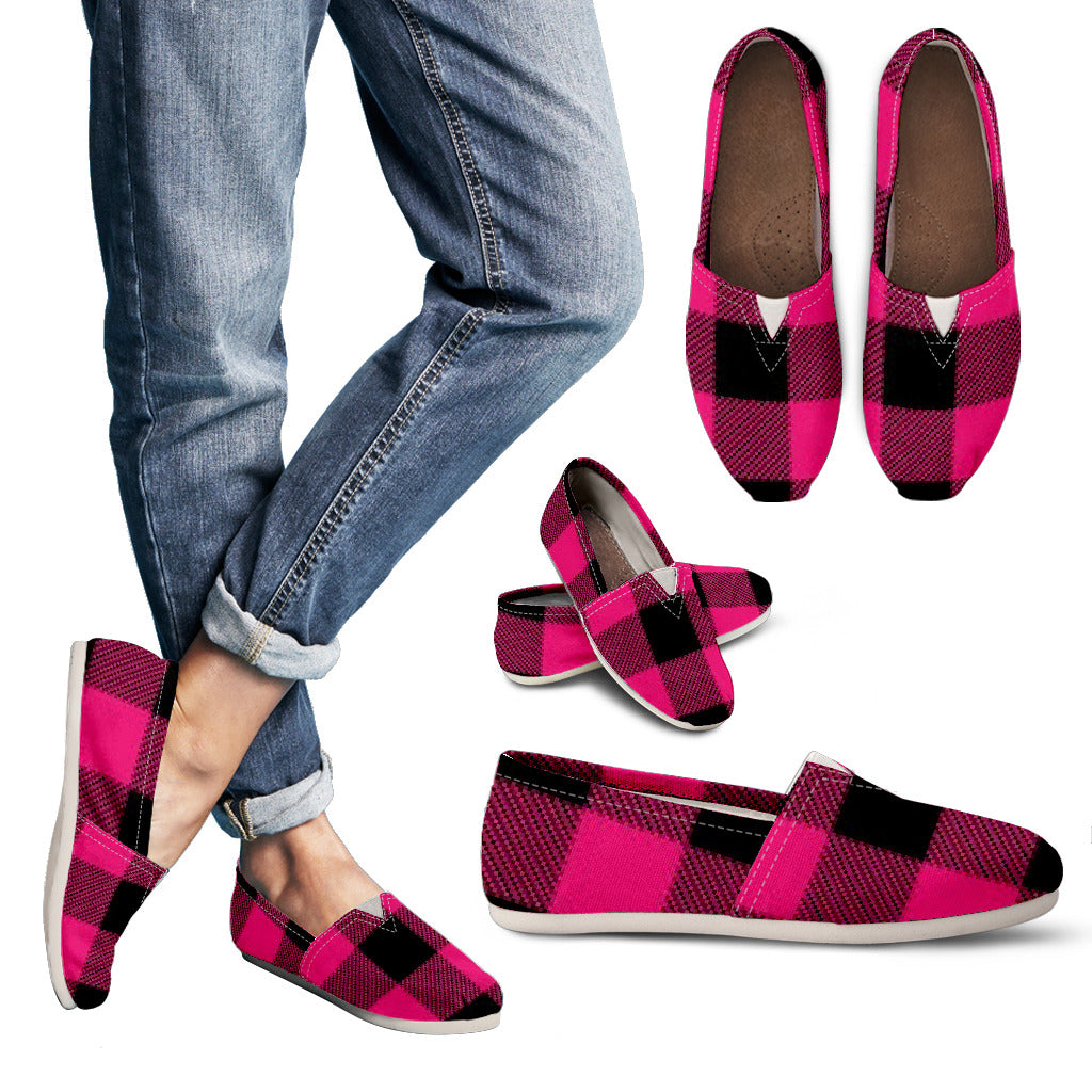 Pink Plaid Women's Casual Shoes