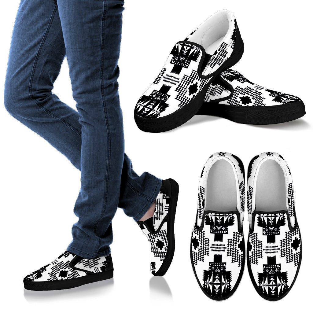 Seven Tribes White and Black Men's Slip Ons
