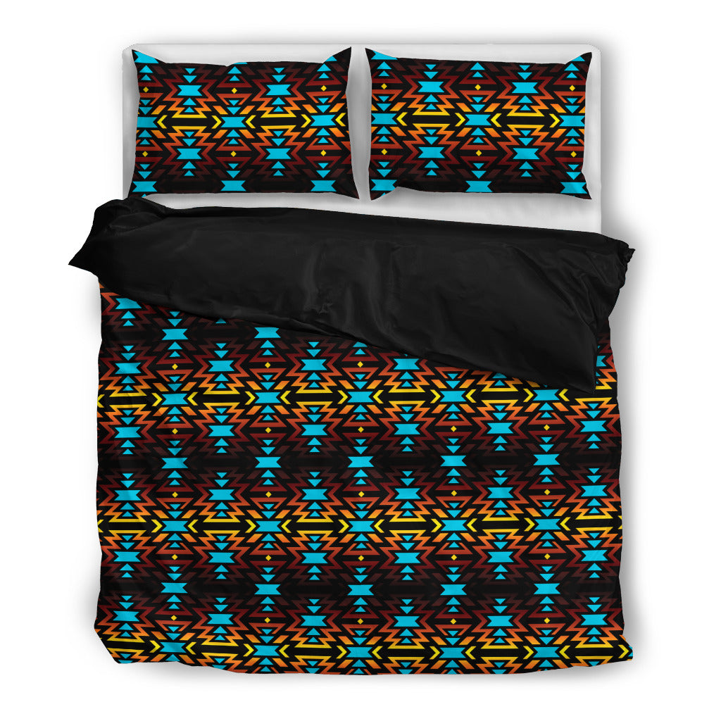 Fire Colors and Turquoise Bedding Set