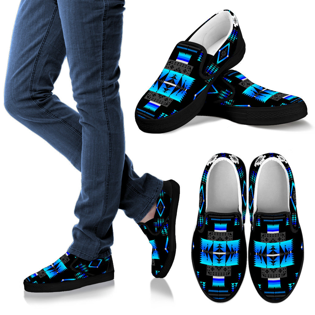 Seven Tribes Black and Blue Men's Slip Ons