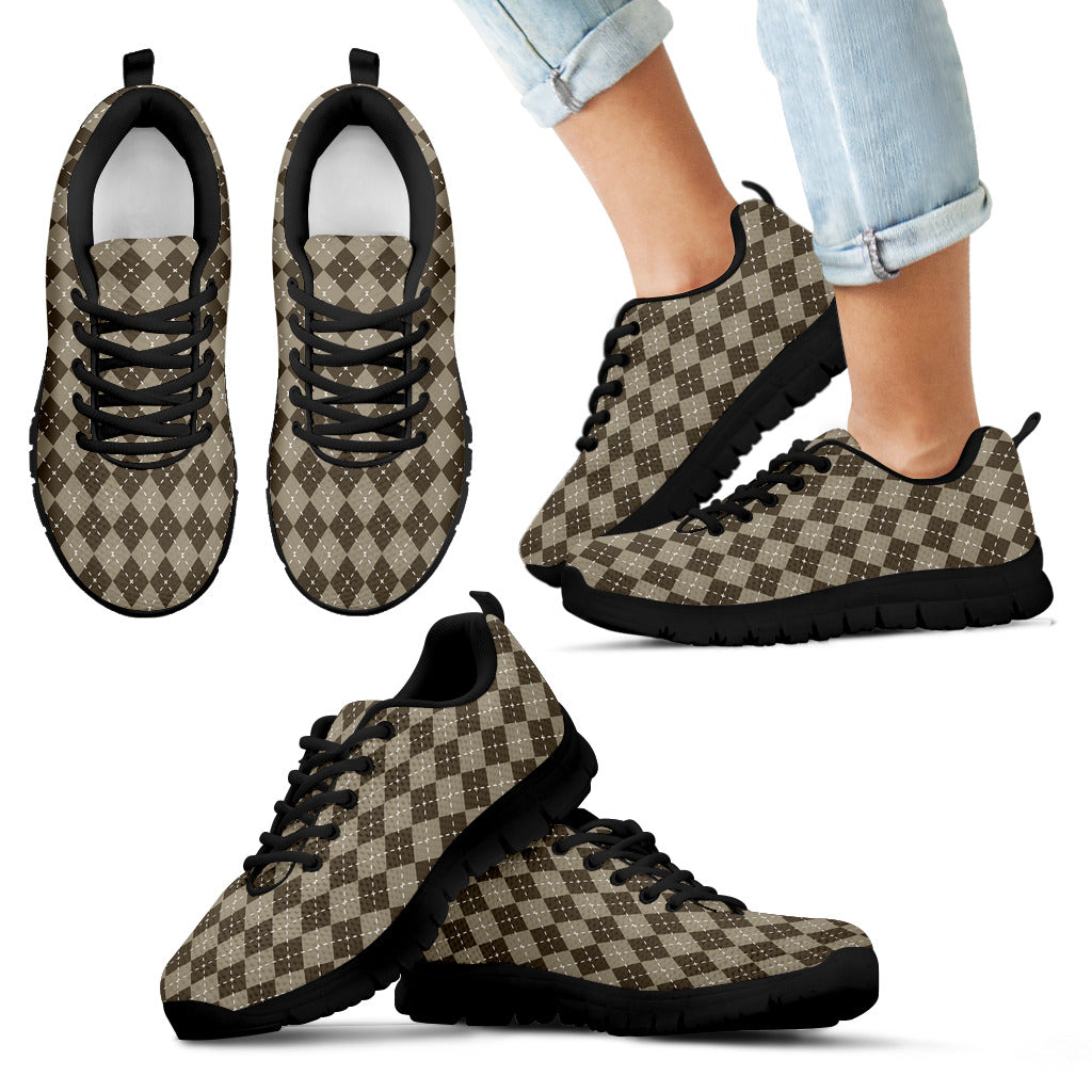 Chocolate Argyle Kids Sneakers