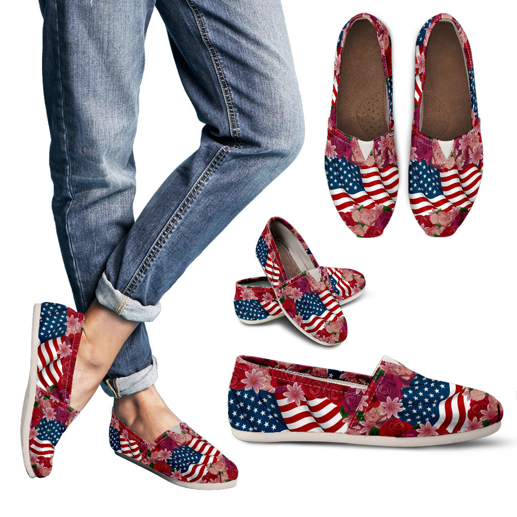 Florist & USA Flag Women's Casual Shoes