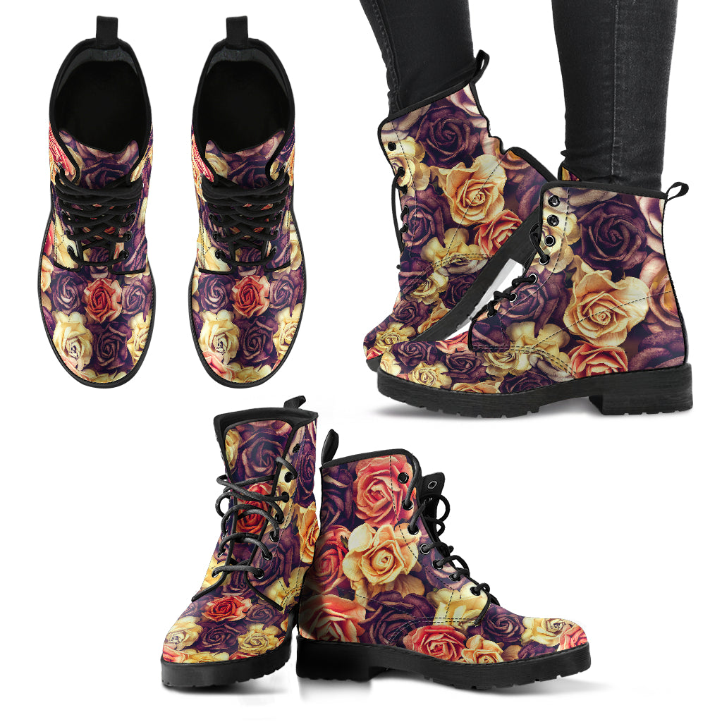 Vintage Roses Dried - Leather Boots for Women