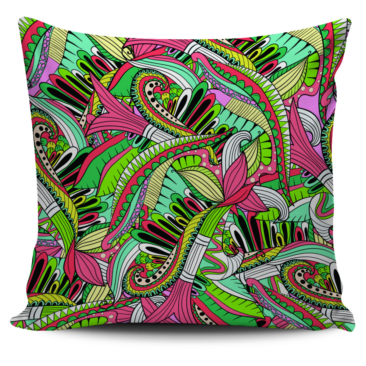 Funky Patterns in Greens - Single Sided Pillow Cover