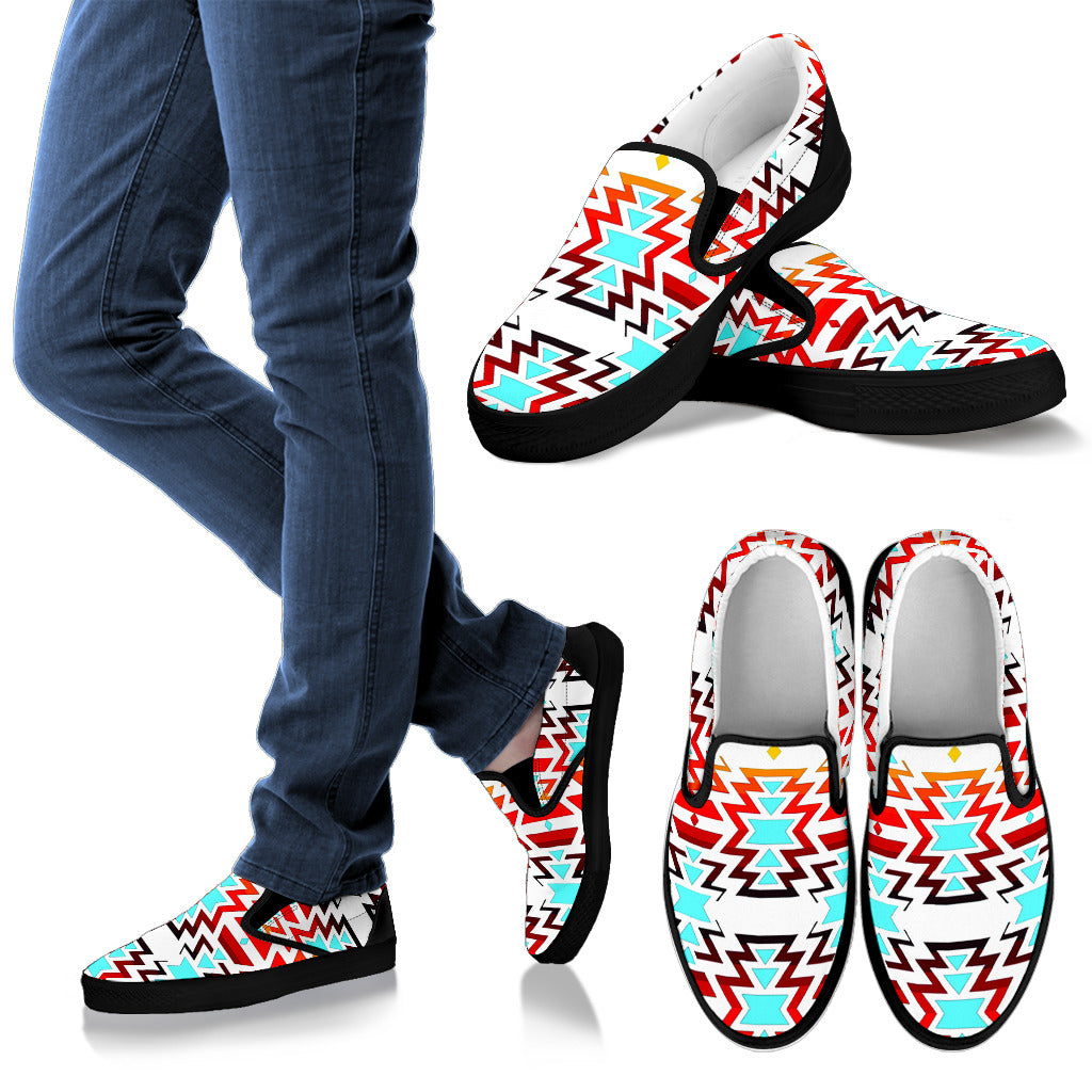 Big Pattern Fire Colors and Turquoise Men's Slip Ons