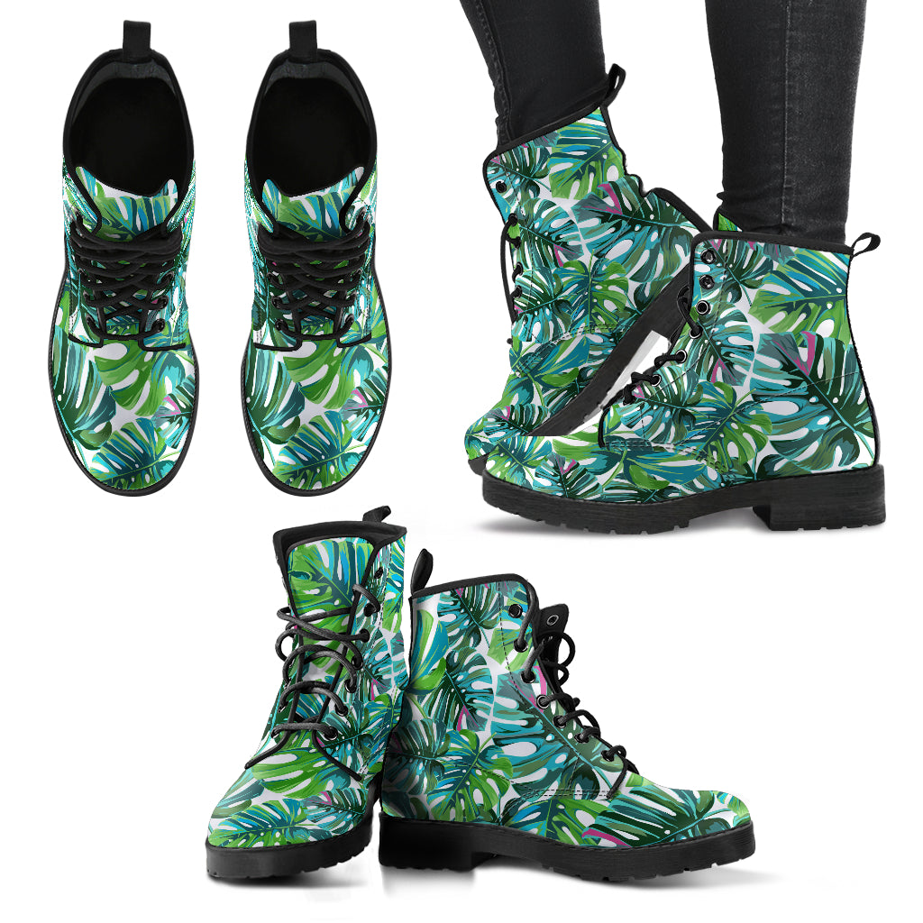 Tropical Leaf - Leather Boots for Women