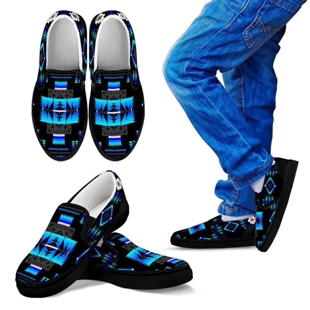 Seven Tribes Black and Blue Kid's Slip Ons