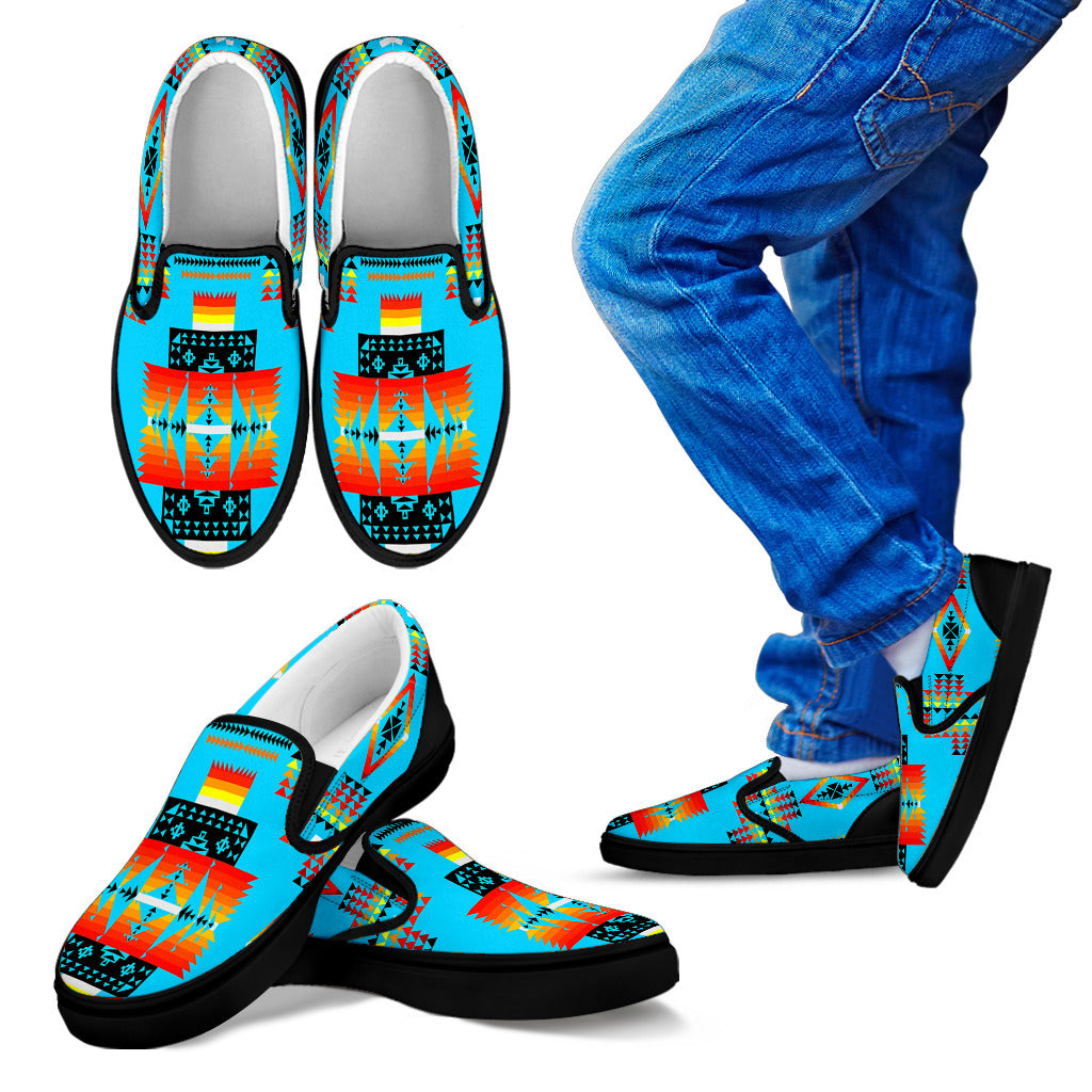 Seven Tribes Turquoise Sopo Kid's Slip Ons