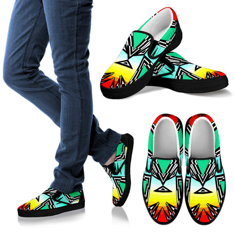 fire and turquoise gradient Men's Slip Ons