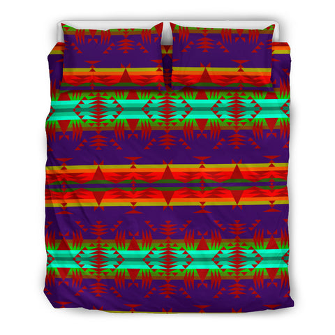 Between the Mountains Purple Red Bedding Set