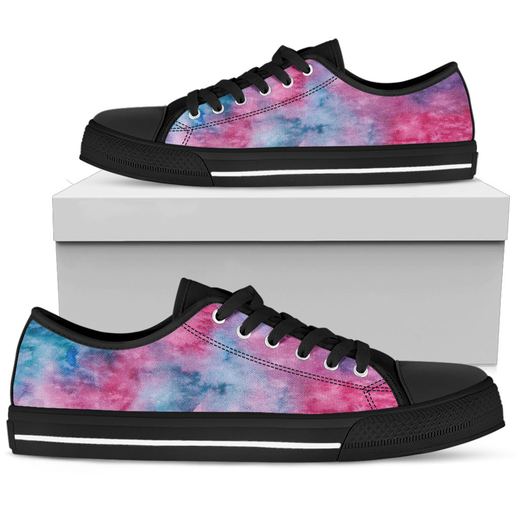 Pink Watercolor Womens Low Top Shoes