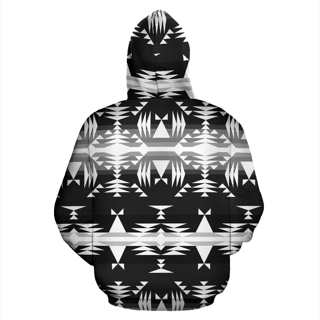 Between the Mountains Black and White Sokapi Hoodie