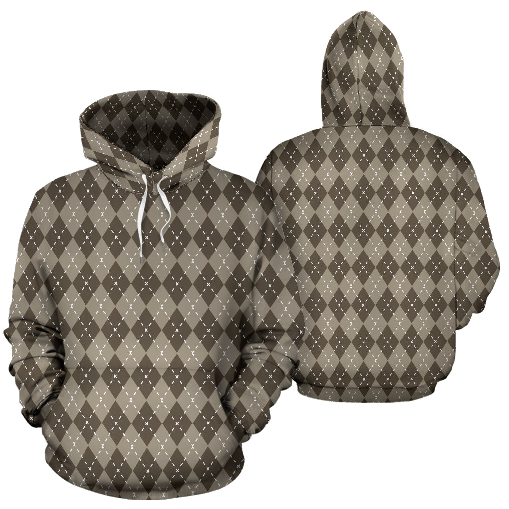 Chocolate Argyle All Over Hoodie
