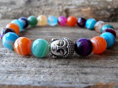 Multicolor Agate Buddha Bracelet - Positive Vibes Clothing