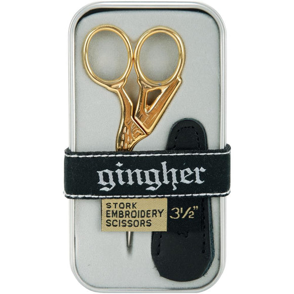 Gingher Gold-Handled Stork Embroidery Scissors 3.5