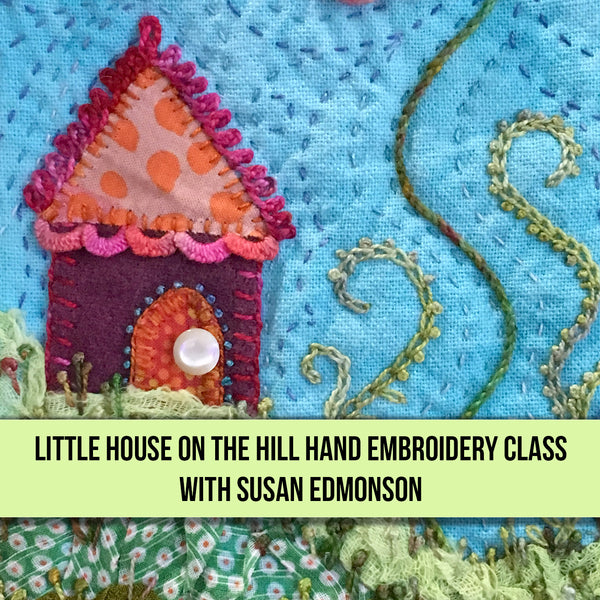 Little House on the Hill Hand Embroidered Block