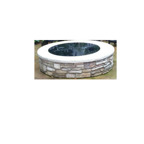 PitTTopper Round Fire Pit Cover Customer Photo Stone Fire Pit