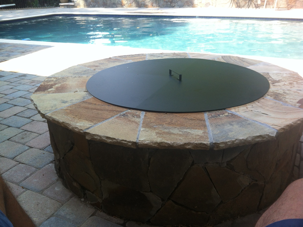 PitTTopper Round Fire Pit Cover Customer Photo Fire Pit By the Pool