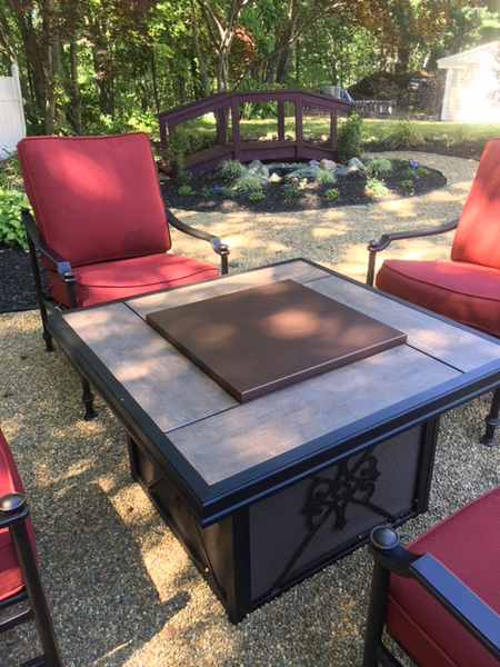 Square Fire Pit Cover on patio fire pit
