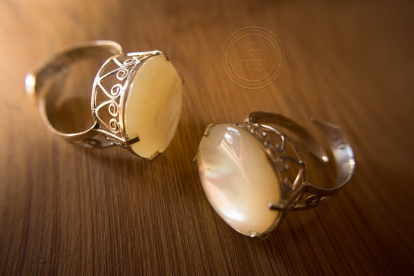 ring white mother of pearl - Bali Moon jewelry, handmade by Balinese silvermsmiths and carving artists, limited edition, Boho, Tribal, Ethno style