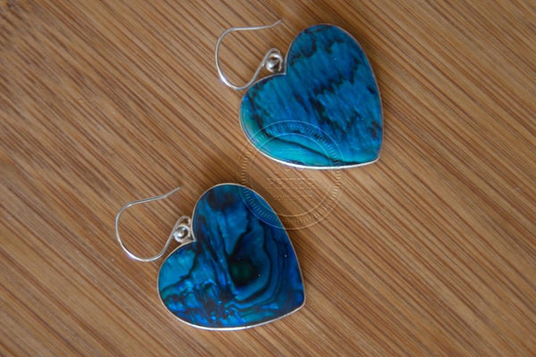 Ocean Heart earrings - Bali Moon jewelry, handmade by Balinese silvermsmiths and carving artists, limited edition, Boho, Tribal, Ethno style