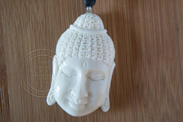 Buddha necklace - Bali Moon jewelry, handmade by Balinese silvermsmiths and carving artists, limited edition, Boho, Tribal, Ethno style