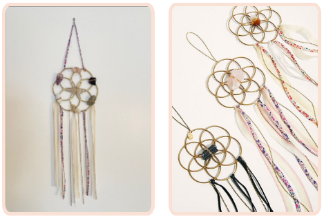 crystal grid dreamcatchers in 3 different design colors