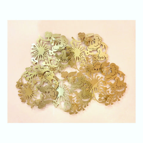 Golden Floral Metal Wall Art Piece