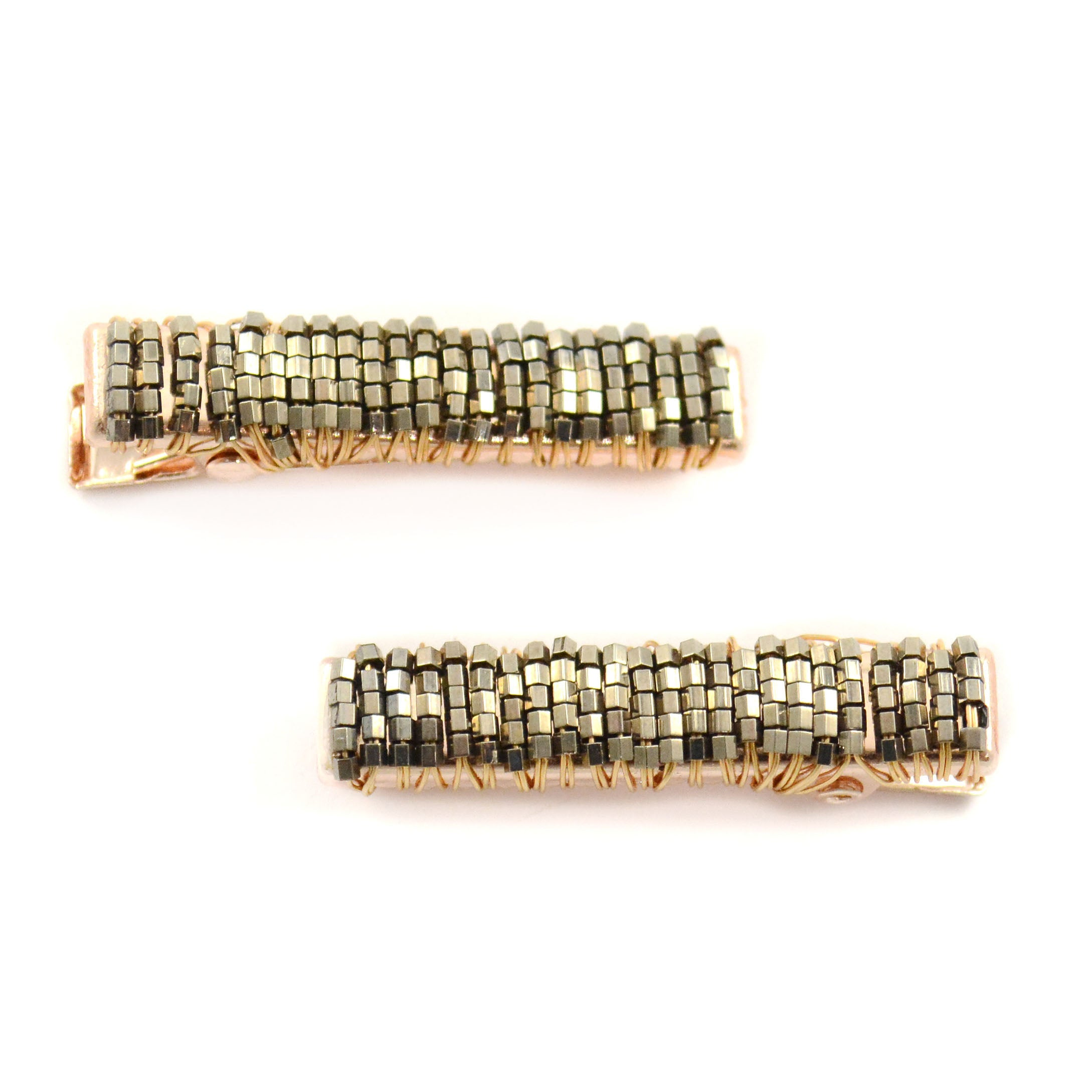 Seed Bead Sparkle Hair Clip Gold