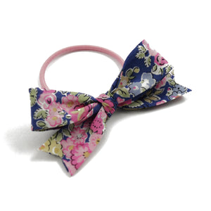 Liberty Print Bow Elastic - Dark Blue and Pinks
