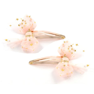 Starry Tulle Clip Pair - Pink and Rose Gold