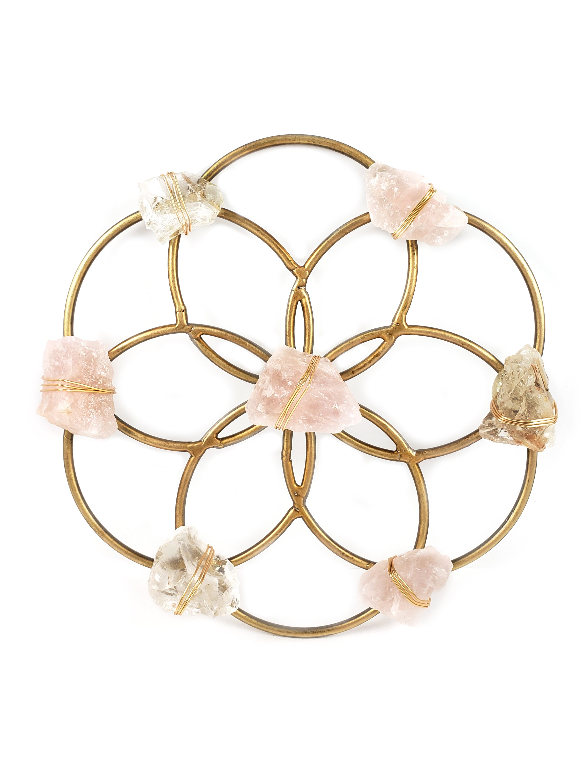Small Flower of Life Crystal Grid - Rose Quartz and Quartz