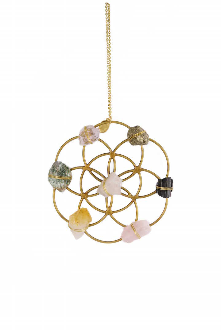 flower of life mini crystal grid ornament holiday gift healing