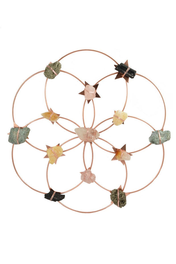 Flower Of Life Healing Crystal Grid - Rose Gold Rainbow 1