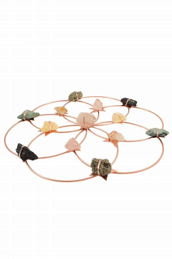 Flower Of Life Healing Crystal Grid - Rose Gold Rainbow