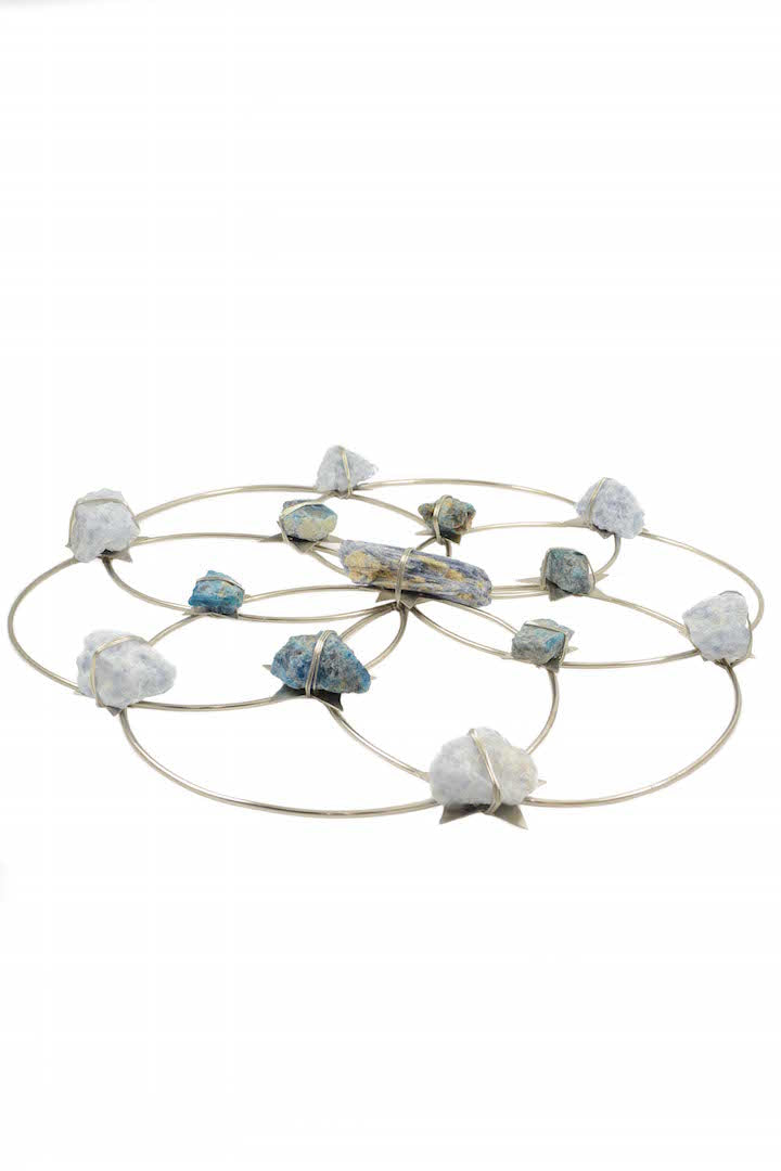 Flower of Life Crystal Grid - Tranquility- Silver Blue Ombre