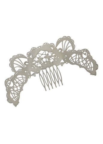 Art Nouveau Embellished Curved Hair Comb, Hair Combs, Embellished Hair Combs, Curved Hair Combs, Metal Hair Combs