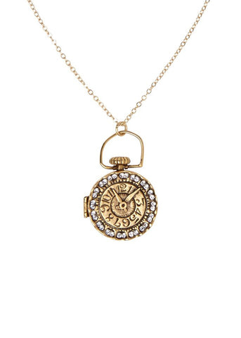 locket clock necklace