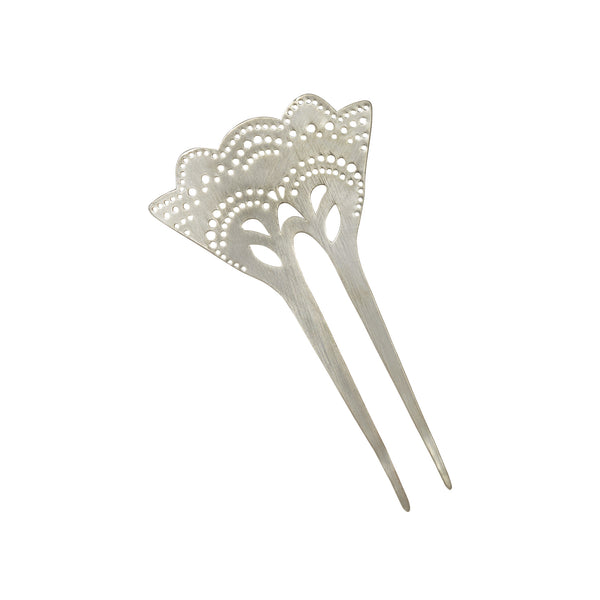 Hair Comb, Metal Hair Comb, Decorative Hair Comb, Silver Plated Hair Comb