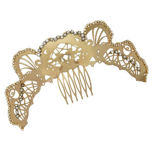 Art Nouveau Embellished Curved Hair Comb