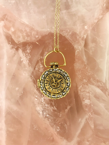 clock locket necklace