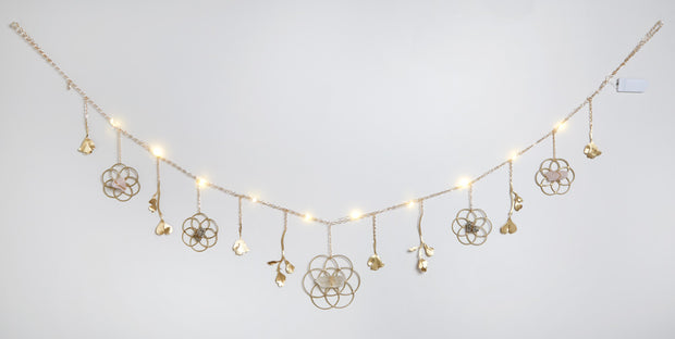 Flower of Life Healing Crystal Grid Garland with String Lighting 1