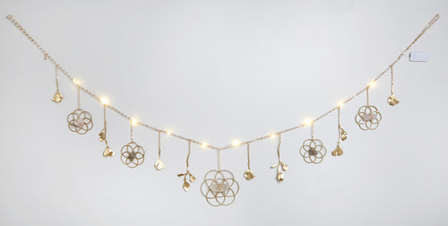 Flower of Life Healing Crystal Grid Garland with String Lighting