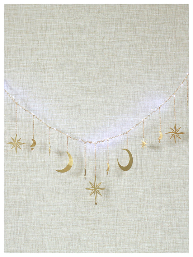 Celestial Moon and Star Garland with String Lighting 1