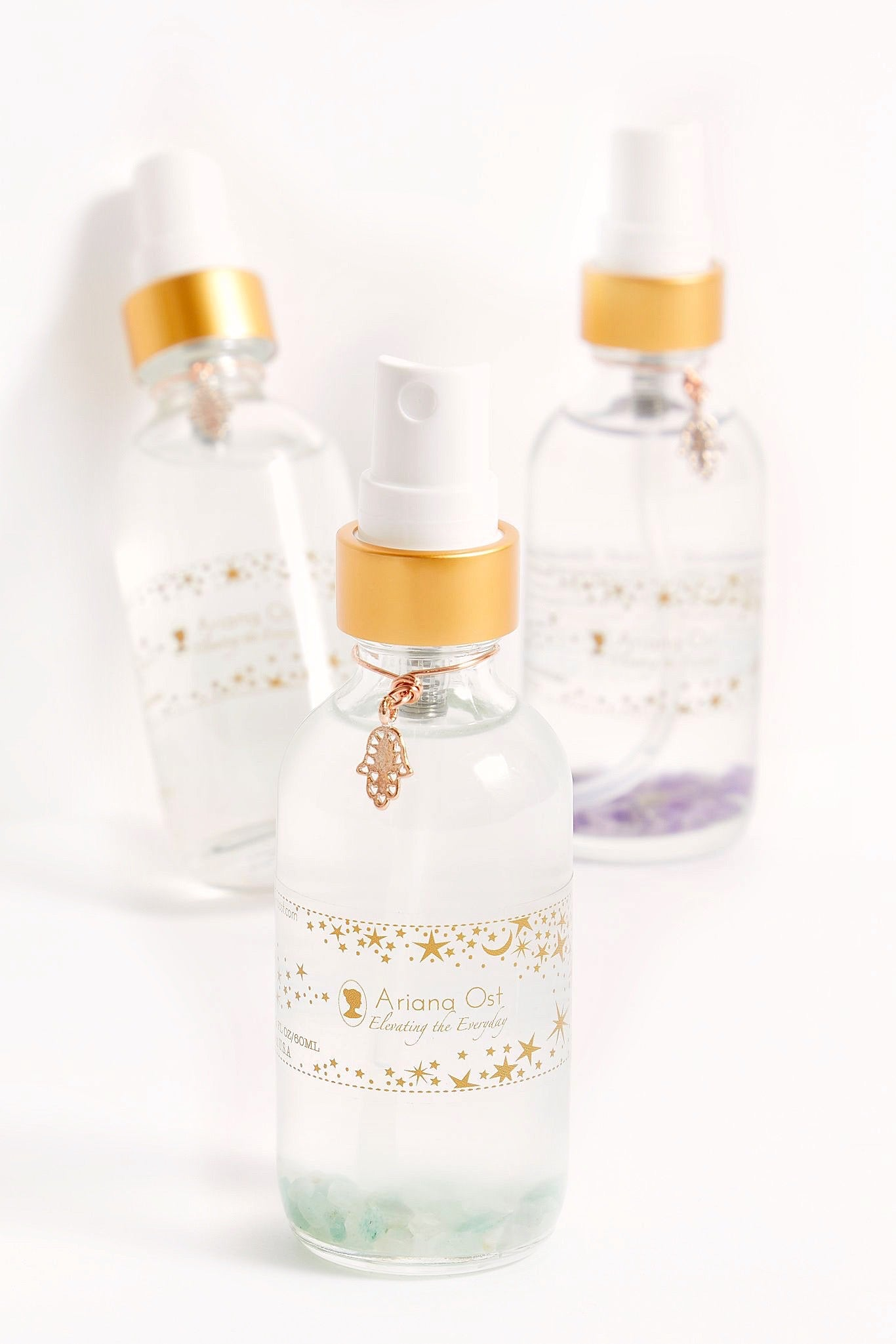 Crystal Infused Hand Sanitizer with Copper Hamsa Charm