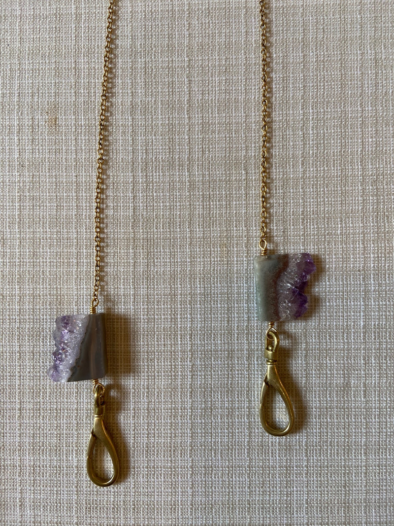Mask Chain Sliced Amethyst Stalactite