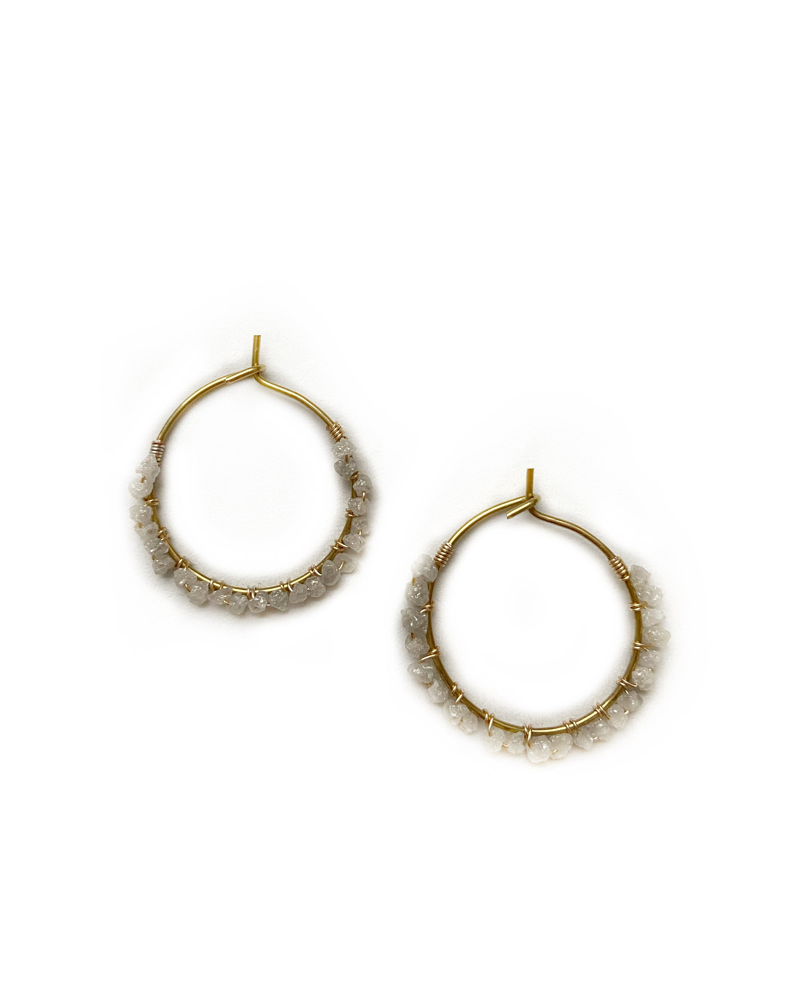 Delicate Rough Diamond Hoop Earrings